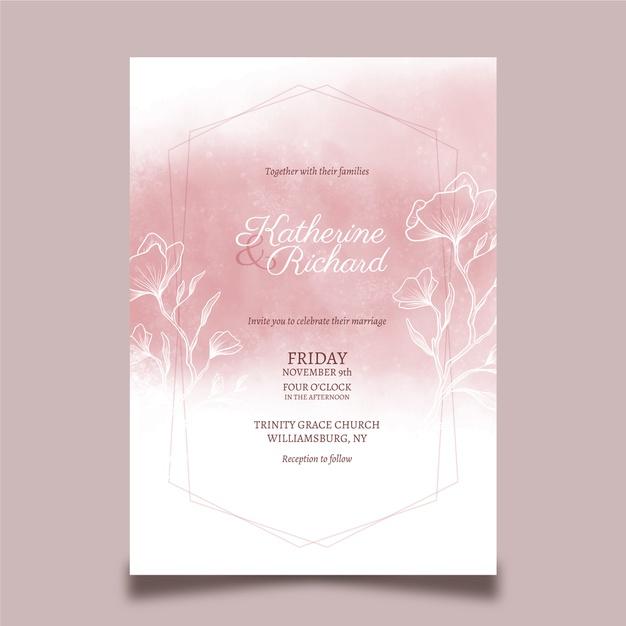desain undangan pernikahan bertema floral pink elegan