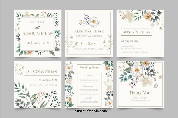 contoh template desain undangan pernikahan untuk postingan instagram