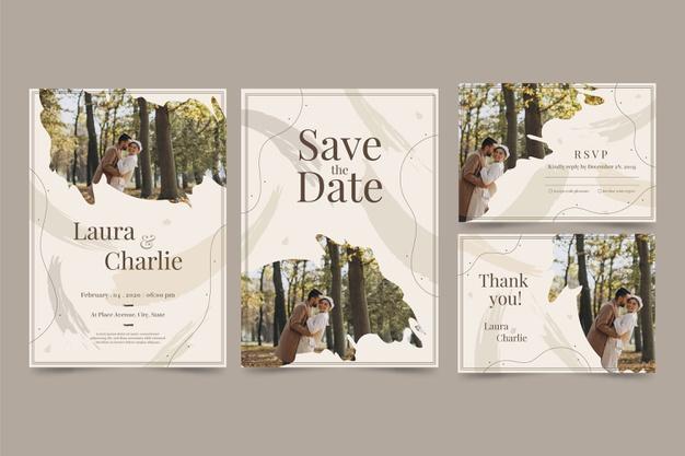 Templated desain undangan pernikahan elegan cerah