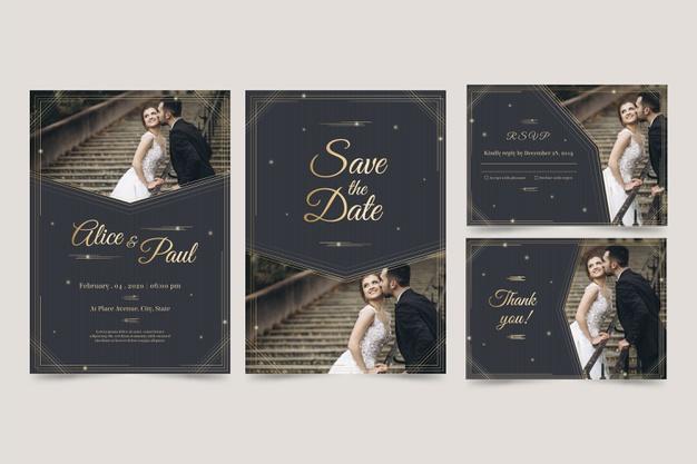 Set template desain undangan resepsi pernikahan modern dan elegan